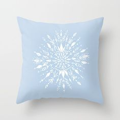 A personal favorite from my Etsy shop https://www.etsy.com/listing/493527761/light-blue-snowflake-throw-pillow-cover