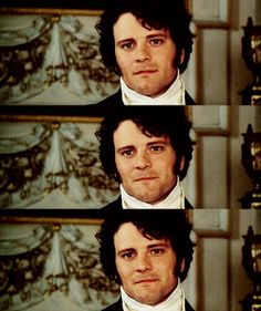 Colin Firth as Mr. Darcy, my heck, that face melts me every time. best part of the whole movie. the 5 seconds when he looks at her like this.
