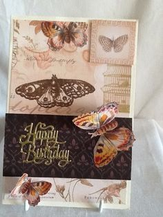 Butterflies and gold - birthday card by Paintspotsandpaper on Etsy Butterfly Birthday Cards, Beautiful Handmade Cards, Gold Birthday, Handmade Items, Handmade Gifts, Christmas Time, Butterflies, Vintage World Maps, Decorative Boxes