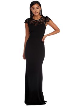 Black Lace Splice Open Back Evening Dress a8677a68c