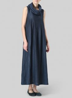 PLUS Clothing - Linen Sleeveless Cowl Neck Long Dress
