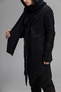 Asymmetric hooded kimono cardigan, cotton mantle black loose cloak, cyberpunk gothic jacket, cosplay sci-fi warrior coat, A0166 Cardigan Outfits, Kimono Cardigan, Gothic Jackets, Steampunk Jacket, Badass Outfit, Mens Clothing Styles, Men's Clothing, Mens Fashion, Fashion Outfits