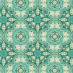 Stoffe di designer USA - Joel Dewberry, Notting Hill Historic Tile Teal - un prodotto unico di Rosenstoffe-Shop su DaWanda