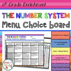 6th Grade Number System Common Core Math Enrichment Choice Board - 3 Leveled Activities for Each Common Core Standard