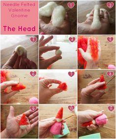 The Head : Needle Felted Valentine Gnome Tutorial : Wool Needle Felting, Needle Felting Tutorials, Wet Felting, Gnome Tutorial, Doll Tutorial, Felt Fairy, Fairy Dolls, Felt Dolls, Crafty Craft