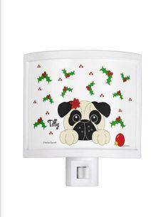 Christmas Pug Girl Night Lights  Personalized by CCGirlsCorner