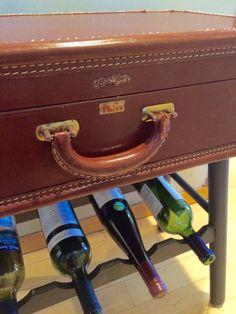 Vintage suitcase table, mini bar with wine rack