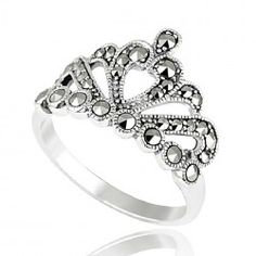 Noble 925 Sterling Silver Crown Ring With Marcasite