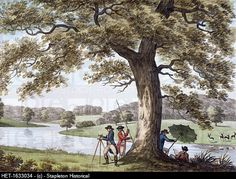 Caption: Humphry Repton surveying with a theodolite, late 18th-early19th century. Repton 1752-1818 succeeded Capability Brown as the garden designer of choice for the landed gentry of England. Image Code: HET-1633034. Photographer: Stapleton Historical