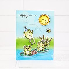 3/24/17. Sunny Studio Stamps: Froggy Friends Happy Birthday Wiggly Frog Card by Lexa Levana