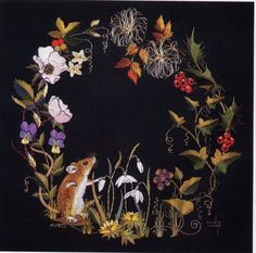 Winter Mouse embroidery by Helen M. Stevens