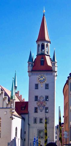 Clock tower, part of The Old Town Hall - Munich,Germany