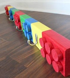Lego Coat Rack plus 25 other DIY Woodworking projects for kids