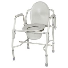 Drive Medical Steel (Silver) Drop Arm Bedside Commode with Padded Arms (Bedside Commode with Padded Arms)