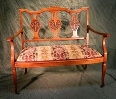 Victorian Settee Bench with nicely carved Vasiform Backsplats Gorgeous antique carved settee in excellent condition. Beautiful wood finish and the upholstery is in excellent condition. Victorian Love Seats, Victorian Couch, Victorian Era, Chair Bench, Wingback Chair, Accent Chairs, Upholstery, Settees, Couches