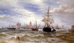 Edward Moran City and Harbor of New York hand embellished reproduction on canvas by artist Edward Moran, A4 Poster, Poster Prints, Victorian Art, Vintage Artwork, American Artists, Canvas Art Prints, Fine Art, York