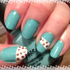 Tiffany blue china glaze with copper dots on white
