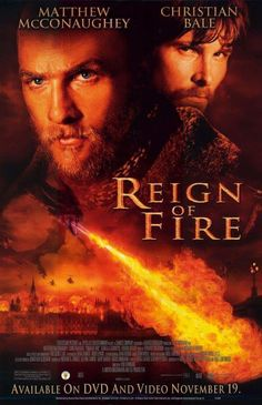 """Reign Of Fire"""" ~ Matthew McConaughey & Christian Bale. When workers in a London tunneling project awaken an unearthly fire-breathing dragon from centuries of slumber, all hell breaks loose. Christian Bale, Christopher Robin, Gerard Butler, Matthew Mcconaughey, Fire Movie, Movie Tv, Movie Theater, Tv Series Online, Movies Online"""