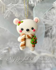 Handcrafted Polymer Clay Polar Bear Ornament inspiration by Kay Miller. Polymer Clay Ornaments, Polymer Clay Figures, Cute Polymer Clay, Cute Clay, Polymer Clay Projects, Polymer Clay Charms, Polymer Clay Creations, Polymer Clay Jewelry, Clay Crafts