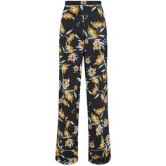 Mustard Contrast Piping Floral Wide Leg Trousers ($25) ❤ liked on Polyvore featuring pants, flower print pants, floral print trousers, floral-print pants, mustard trousers and floral printed pants