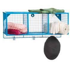 wire baskets, industrial hooks, fun color... I think I need this in the bathroom
