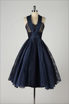 vintage 1950s dress . navy blue organza . halter top . lace bodice