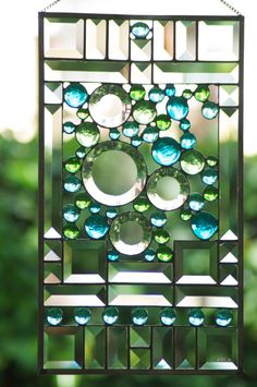 BEAUTIFUL STAINED GLASS PANEL! (Tribute To Goudi Stained Glass Panel by JoannePaoneGill on Etsy, $185.00)