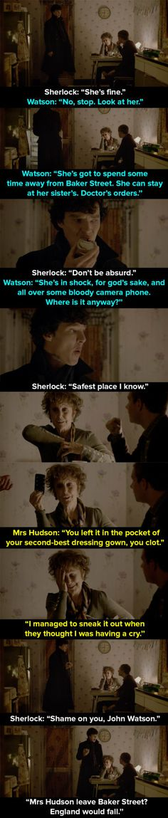 "When Mrs Hudson is held hostage in the apartment. 14 Times Mrs Hudson Was The Best Thing About ""Sherlock"" Bbc Sherlock Holmes, Sherlock Fandom, Sherlock John, Jim Moriarty, Watson Sherlock, Supernatural Fandom, Supernatural Quotes, Johnlock, Baker Street"