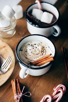 Tahini Hot Chocolate lightly sweetened with honey.