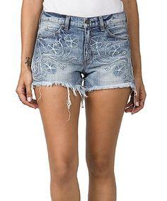 Look what I found on #zulily! Light Wash Floral Raw-Edge Denim Shorts #zulilyfinds