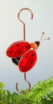 Stained Glass 3 D Ladybug Garden Plant Hook Holder