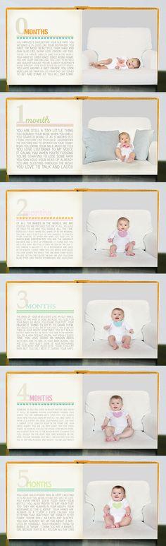 fotoksiążka first year baby book idea First Year Baby Book, Babies First Year, 1st Year, Foto Picture, Monthly Baby Photos, My Bebe, Baby Journal, Foto Baby, Baby Memories