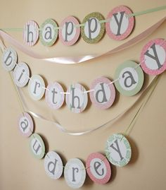 custom HAPPY BIRTHDAY BANNER with namepink green by bayoumoon, $30.00
