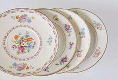 Mismatched Vintage Plates for Wedding Set of by RosebudsOriginals