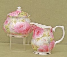 Lady Diana Chintz Fine Bone China - Sugar and Creamer Set - Covered Sugar Bowl