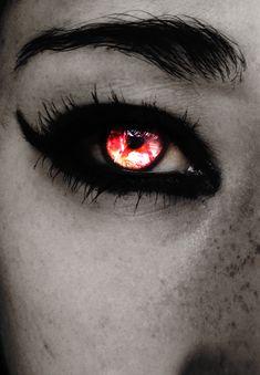 Eye red contacts dark new ideas Pretty Eyes, Cool Eyes, Beautiful Eyes, Demon Eyes, Crazy Eyes, Colored Contacts, Red Eyes Contacts, Eye Art, Werewolf