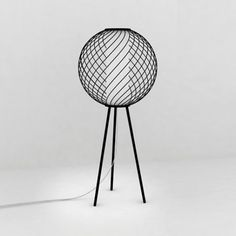 This elegant lamp designer Fabrice Berrux consists of a powder coated steel frame and a PMMA cylinder diffusing.