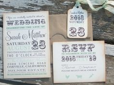 vintage wedding invitation -typography invitation - Sarah Collection-  SAMPLE on Etsy, $8.55