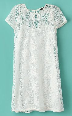 White Short Sleeve Crochet Lace Dress with Camisole