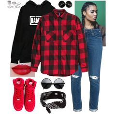 Untitled #799 by daegugod on Polyvore featuring polyvore, moda, style, Bambam, Paige Denim, NIKE, claire's, fashion and clothing