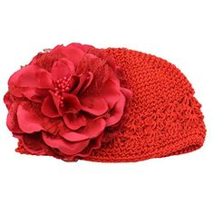 Gotd Flower Hats Cap for Toddlers Infant Baby Girls Lace Hair Band Headband Headwear (Toddlers Flower Hat Red) * To view further, visit