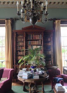 Ballywalter Park, Belfast, Northern Ireland, designed by Sir Charles Lanyon, 1852 & Source: The Irish Aesthete. Walnut Bookcase, Antique Bookcase, Open Bookcase, Bookcases, Library Study Room, Library Table, Painting Bookcase, Home Libraries, Decoration
