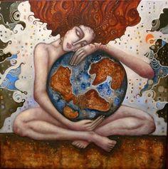 °Gaia ~ Earth by Ingrid Tusell Domingo Sacred Feminine, Divine Feminine, Earth Goddess, Beautiful World, Namaste, Mother Nature, Mother Art, Illustration, Artwork