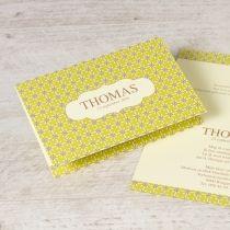 Fijne bloemetjeskaart okergeel www.tadaaz.be