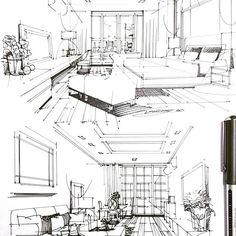 #sketch #bedroom #livingroom #condo #interiordesign