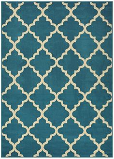 """Trellis Area Rug Rugs Contemporary Modern Lattice Design Area Rug Rugs 5 Color Options Available (Petrol Blue, 7'10"""" x 9'10"""") RugStylesOnline http://www.amazon.com/dp/B00JH4I3PE/ref=cm_sw_r_pi_dp_Z7Yfwb0MFSB2E"""