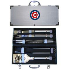 Chicago Cubs 8 pc Stainless Steel BBQ Set w/Metal Case