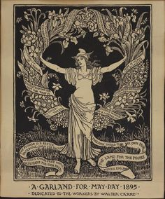 """""""A Garland for May Day 1895"""" (1895), Walter Crane, original relief print"""