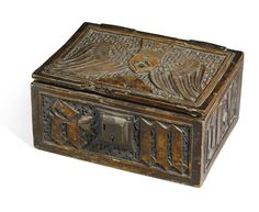 Betrothal casket, German, Upper Rhine, late 14th/15th century. Fruitwood with later velvet lining.
