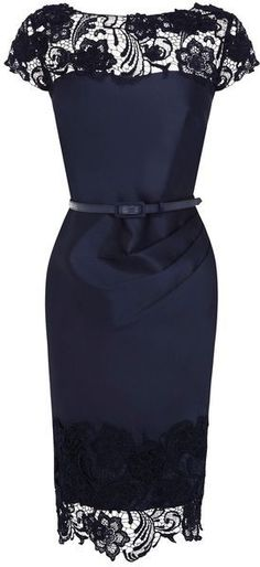 Navy and Lace | Love the ruching at the waistline...right where you need it.